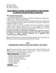 Regulamentul intern de organizare si functionare a Grupului
