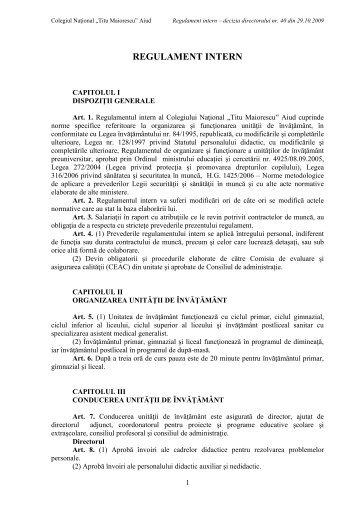 """REGULAMENT INTERN - Colegiul Naţional """"Titu Maiorescu"""""""