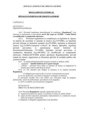 Regulament intern - Spitalul Judetean Giurgiu