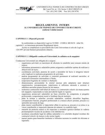 Regulament intern UTCB - Universitatea Tehnică de Construcţii ...