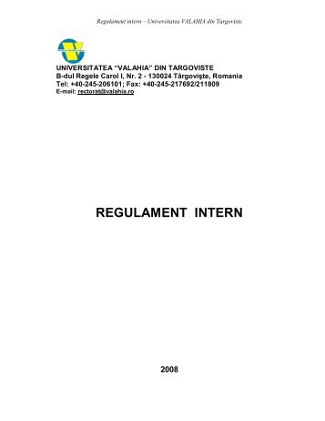 REGULAMENT INTERN - Universitatea Valahia