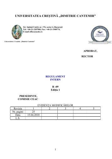 Regulament intern - Dimitrie Cantemir