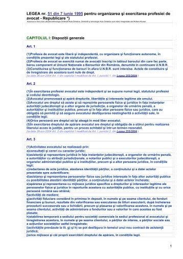 forma Legii nr. 51/1995 pentru organizarea şi - UNBR