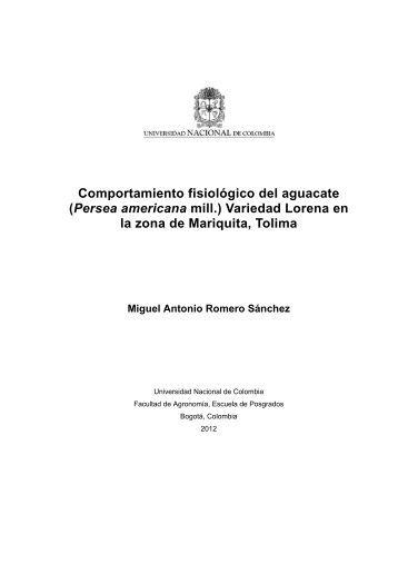 Comportamiento fisiológico del aguacate - Universidad Nacional de ...