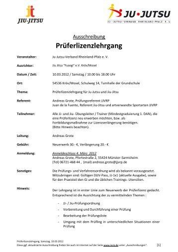 Prüferlizenzlehrgang - Ju-Jutsu-Verband Rheinland-Pfalz e.V.