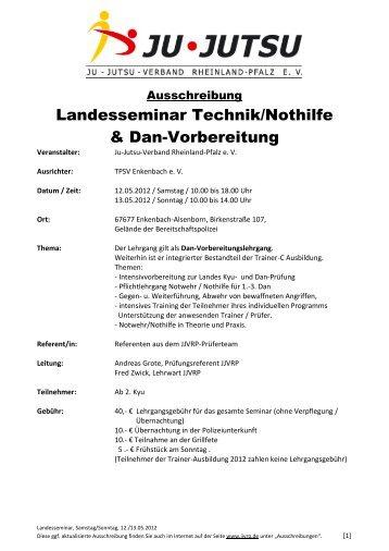 Landesseminar Technik/Nothilfe & Dan-Vorbereitung - Ju-Jutsu ...