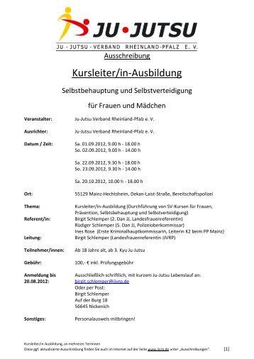 Kursleiter/in-Ausbildung - Ju-Jutsu-Verband Rheinland-Pfalz e.V.