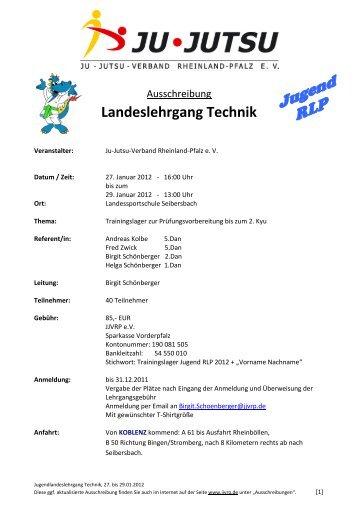 Landeslehrgang Technik - Ju-Jutsu-Verband Rheinland-Pfalz e.V.