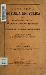 Sanctissimi dn pii pp. IX. Epistola Encyclica data die VIII ... - Libri nostri