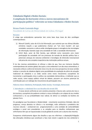 Cidadania Digital e Redes Sociais - Centro de Filosofia das ...