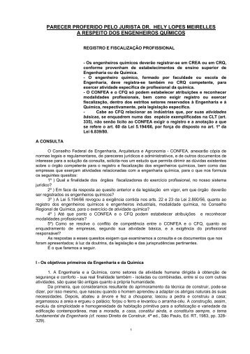 Parecer Hely Lopes Meirelles - Conselho Regional de Química - IV ...