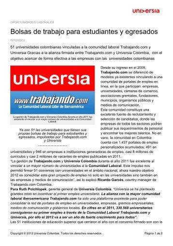 Bolsas de trabajo para estudiantes y egresados - Noticias - Universia