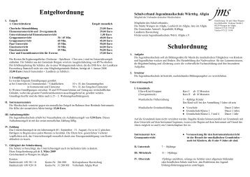 Entgeltordnung Schulordnung - Jugendmusikschule ...