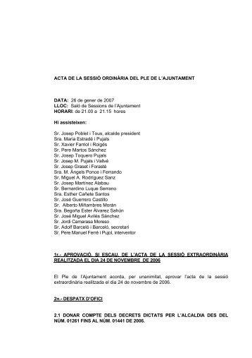 ACTA DE LA SESSIÓ ORDINÀRIA DEL PLE DE L'AJUNTAMENT ...