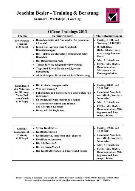 Trainings Angebot Joachim Besier Training Beratung