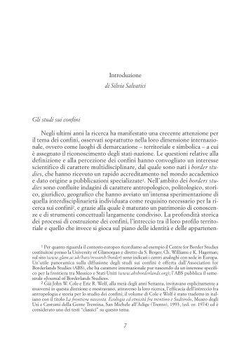Introduzione di Silvia Salvatici Gli studi sui confini - Società Italiana ...