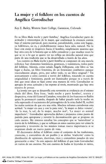 Actas XII. AIH. La mujer y el folklore en los cuentos de Angélica ...
