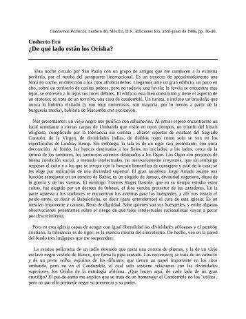 Umberto Eco De qué lado están los Orisha?/36 - Cuadernos Políticos