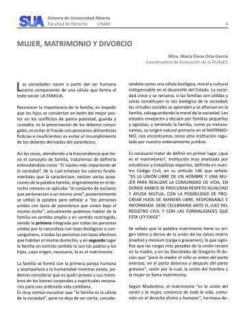 MUJER, MATRIMONIO Y DIVORCIO - Facultad de Derecho - UNAM