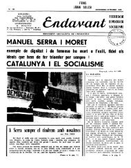 MANUEL SERRA I MORET CATALUNYA I EL SOCIALISME - Atipus