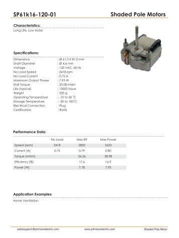 Shaded Pole Motors SP61k16-120-01 - Johnson Electric