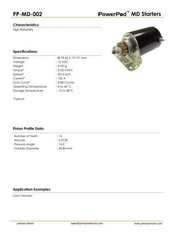 MD Starters PP-MD-002 - Johnson Electric