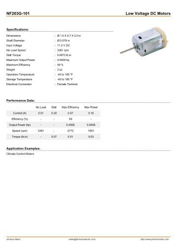NF203G-101 Low Voltage DC Motors - Johnson Electric
