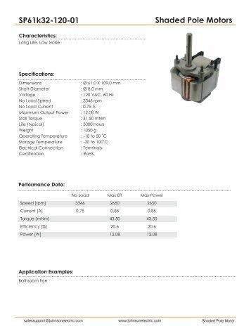 Shaded Pole Motors SP61k32-120-01 - Johnson Electric