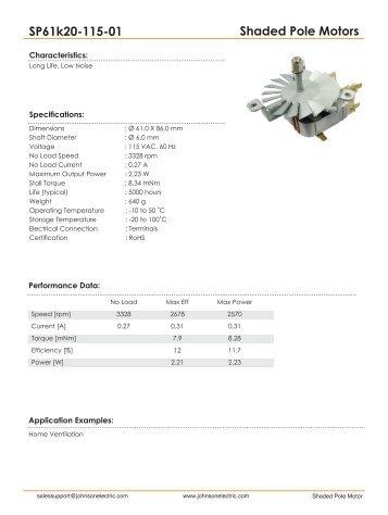 Shaded Pole Motors SP61k20-115-01 - Johnson Electric