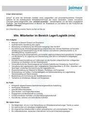 kfm. Mitarbeiter im Bereich Lager/Logistik (m/w) - joimax GmbH