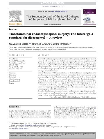Transforaminal endoscopic spinal surgery: The ... - Herniakliniek.nl
