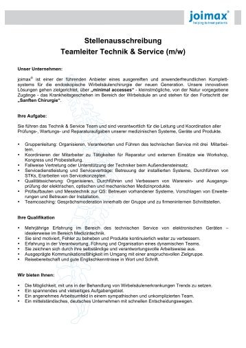 Stellenausschreibung Teamleiter Technik & Service ... - joimax GmbH