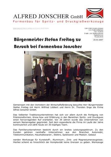 Pressemitteilung - 23. März 2007 - Alfred Jonscher GmbH