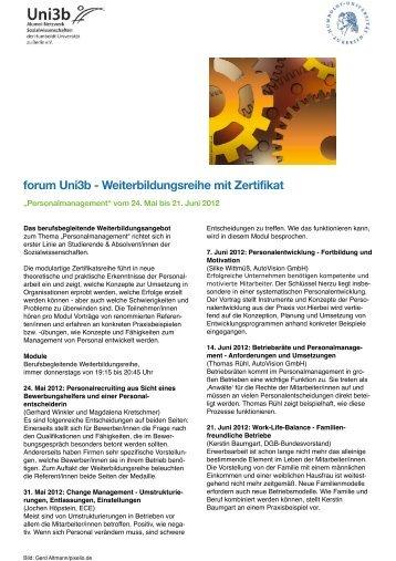 forum Uni3b - Weiterbildungsreihe mit Zertifikat - Jova Nova