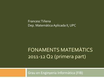 X - Departament de Matemàtica Aplicada II - UPC