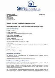Gruppenordnung - Ausbildungswohngruppen - Stift Sunnisheim