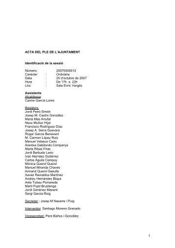 1 ACTA DEL PLE DE L'AJUNTAMENT Identificació de la sessió ...