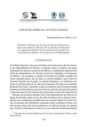 JOSÉ MARÍA MORELOS. UN JUICIO A DEBATE Fernando ...