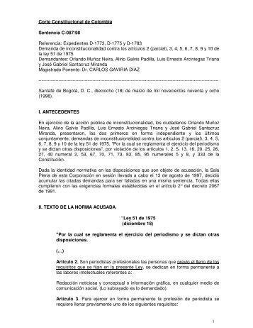 Corte Constitucional de Colombia Sentencia C-087/98 Referencia ...