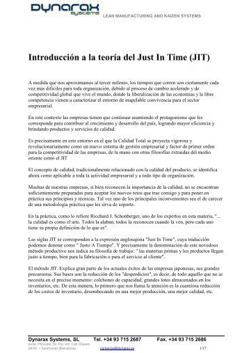 Introducción a la teoría del Just In Time (JIT) - Dynarax