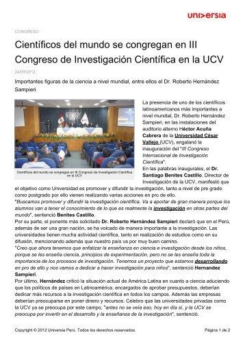 Científicos del mundo se congregan en III Congreso de ...