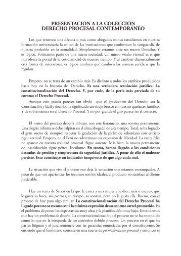 PRESENTACIÓN A LA COLECCIÓN DERECHO ... - EGACAL