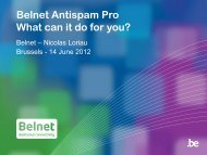 Belnet Antispam Pro What can it do for you?