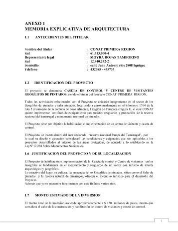 ANEXO 1 MEMORIA EXPLICATIVA DE ARQUITECTURA