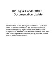 HP Digital Sender 9100C Documentation Update - Business ...