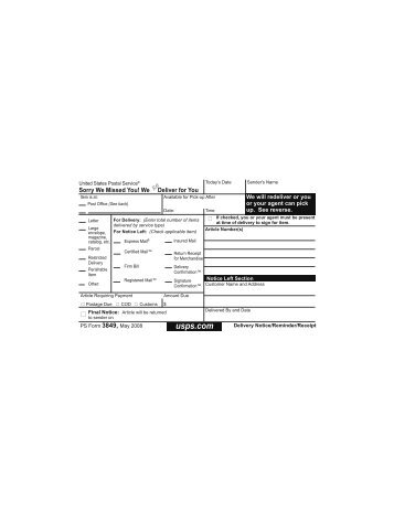 PS Form 3849 - NALC Branch 78