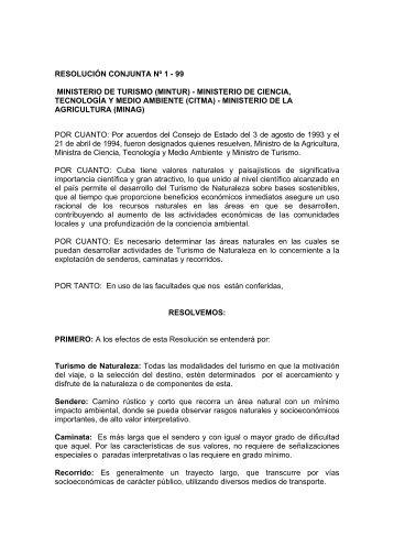 RESOLUCIÓN CONJUNTA Nº 1 - 99 MINISTERIO DE TURISMO ...