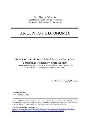 Evolución de la informalidad laboral en Colombia - Departamento ...