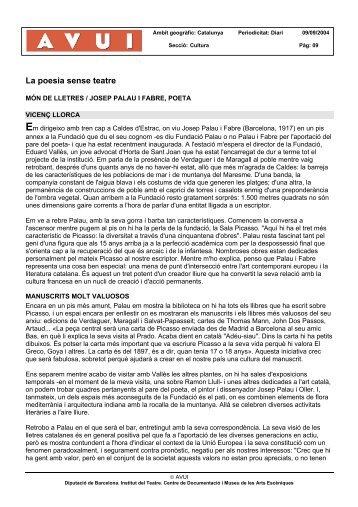 La poesia sense teatre - Hemeroteca Digital - Institut del Teatre