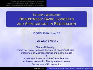 Tutorial Workshop Robustness: Basic Concepts and Applications in ...